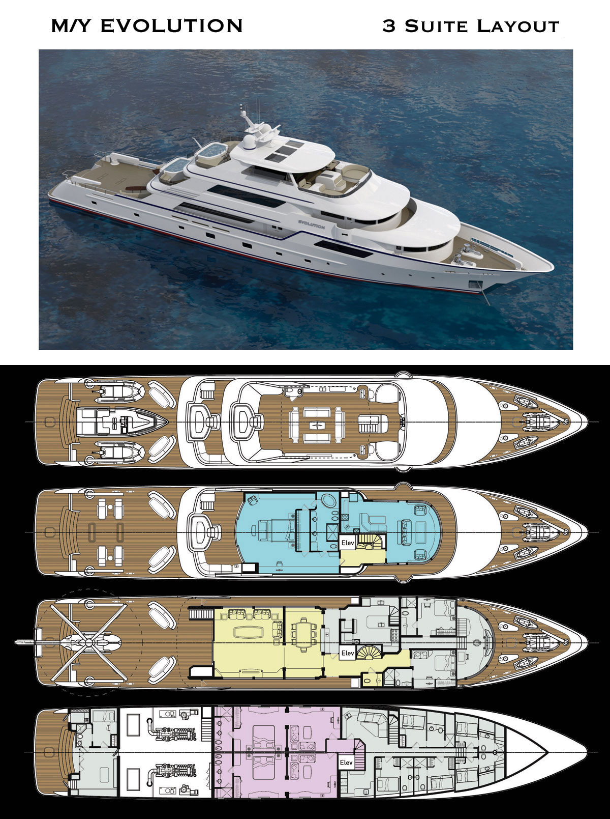 Deck Layout for 50 Meter Luxury Explorer Yacht with 3 Staterooms