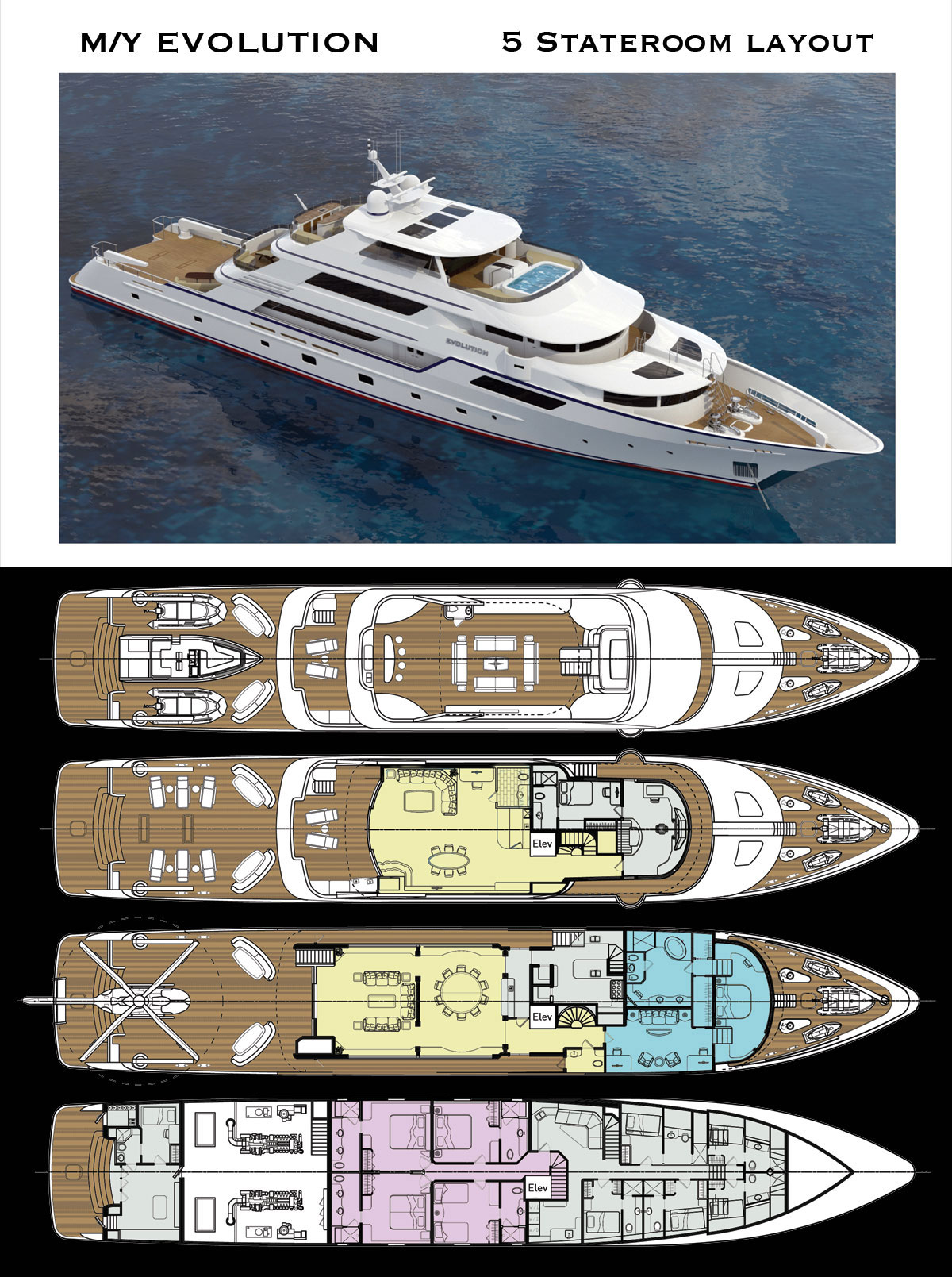 Deck Layout for 50 Meter Luxury Explorer Yacht with 5 Staterooms