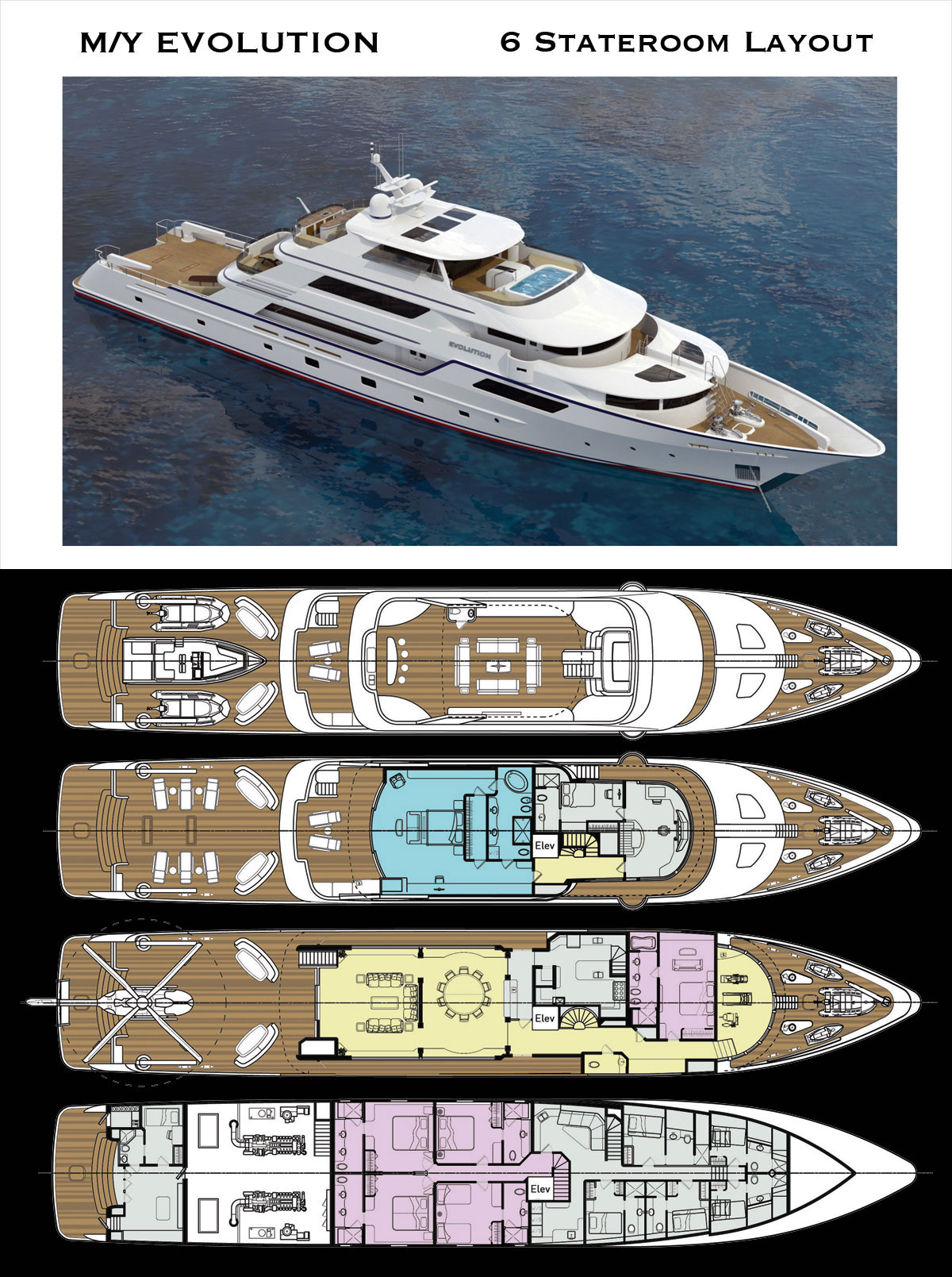 Luxury Explorer 50 Meter Yacht | 6 Stateroom Deck Layout